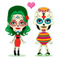 Undead couple love in celebrating the mexican dia de los muertos in traditional costume Royalty Free Stock Photo