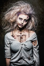 Undead zombie girl a scary Stock Image