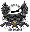 Undefeated mafia skull and pistols with no bullets vector format Royalty Free Stock Photography