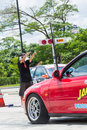 Undefined drivers race wheel to wheel on raceway temporary stre chiang mai thailand june street june in chiang mai thailand Stock Photography