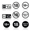 Under adults only warning sign attention eighteen forbidden icons set Royalty Free Stock Image