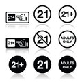 Under adults only warning sign attention eighteen forbidden icons set Stock Photo