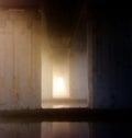 Under bridge,water, mirror, line Royalty Free Stock Photo