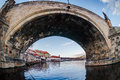 Under the charles bridge vltava river runs through prague Royalty Free Stock Photography