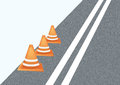 Under constraction background of road with safety cones Royalty Free Stock Photo