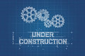 Under construction blueprint technical drawing with gear wheel scribble style Royalty Free Stock Images