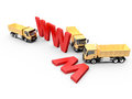 Under construction concept of website with red www letters and yellow trucks isolated on white background Stock Photos