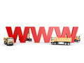 Under construction concept of website with red www letters and yellow trucks isolated on white background Royalty Free Stock Photos