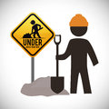Under construction design concept with tools vector illustration graphic Stock Images