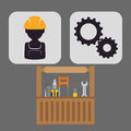 Under construction design concept with tools vector illustration graphic Stock Photography