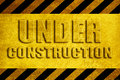 Under construction grunge weathered yellow sign Stock Image
