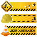 Under construction horizontal banners a collection of three with a traffic sign a hard hat and a traffic cone on yellow background Stock Photos