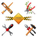 Under construction icons bright Stock Images