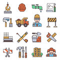 Under construction outline icons engineering architecture equipment graphic tool vector illustration.