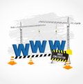 Under construction page with blue www letters. Royalty Free Stock Photo