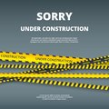 Under construction page. Web site design template with attention danger stripes security type vector ui template