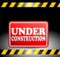 Under construction progress red plat sign