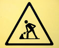Under construction road sign with man icon symbol Royalty Free Stock Image