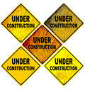 Under Construction Road Signs Isolated on White Royalty Free Stock Photo