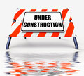 Under construction sign displays partially insufficient construc displaying construct Stock Photo