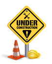 Under Construction Sign in White Backgroun