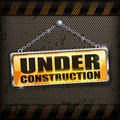 Under construction sign yellow black background vector illustration Stock Photography