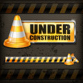 Under construction sign & traffic cones Royalty Free Stock Photo
