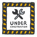 Under construction signs in cartoon style Royalty Free Stock Photo