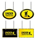 Under construction signs illustrated set of hanging isolated on a white background Royalty Free Stock Photos