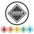 Under construction signs set Royalty Free Stock Photo