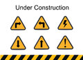 Under construction signs, traffic vector, under construction vector Royalty Free Stock Photo