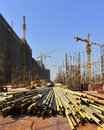 Under construction site,In the construction of large buildings Royalty Free Stock Photo