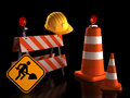 Under construction street signs with hard hat on black background clipping path included Stock Image