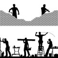 Under construction two editable vector foreground design elements of builders and bricklayers Royalty Free Stock Photos