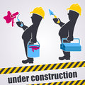 Under construction two workers are working maintenance concept Stock Photos