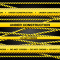 Under construction vector set of lines on dark background for yours banners and websites Stock Photography