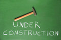 Under construction written on a chalkboard hammer above Royalty Free Stock Photos