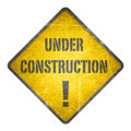 Under construction, yellow sign Royalty Free Stock Photo