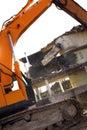 Under destruction excavator on a building site Royalty Free Stock Images