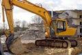 Under destruction excavator on a building site Royalty Free Stock Image
