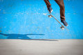 Under extrem park skater jumps high in air Royalty Free Stock Images