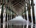Under the Folly Beach pier Royalty Free Stock Photo