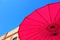 Under pink sun umbrella Royalty Free Stock Photo