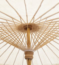 Under view of hand craft clothes umbrella structure of nothern t thailand made from bamboo wood thai original tradition Royalty Free Stock Photos