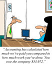 Underachiever accounting has calculated how much we ve paid you compared to how much work you ve done you owe the company Stock Photo