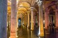 Underground basilica cistern istanbul turkey wide view of and reflections Royalty Free Stock Photo
