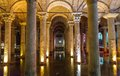 Underground basilica cistern istanbul turkey wide view of and reflections Royalty Free Stock Photography