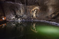 Underground lake in the Wieliczka, Poland. Stock Photo