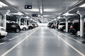 Underground parking with cars white colors Stock Photography