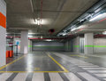 Underground parking garage industrial interior neon light in bright industrial building Stock Photos
